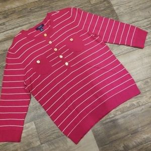 Chaps pink striped button-up sweater